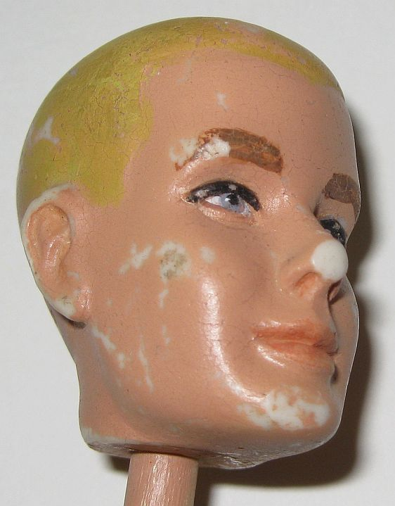 1960 Plaster Mattel Prototype Flock Hair Ken Head Mold